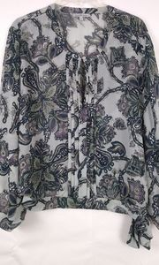 Charlotte Russe Paisley Silver & navy blouse M
